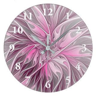 Grande Horloge Ronde Rêve de fleur de fractale, motif floral
