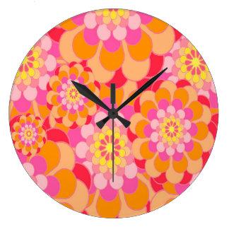 Grande Horloge Ronde Rose abstrait de conception floral