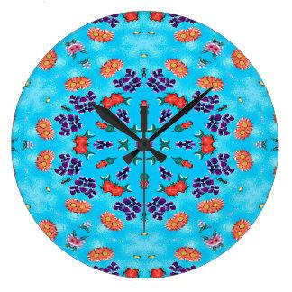 Grande Horloge Ronde Rose bleu et pourpre d'art abstrait