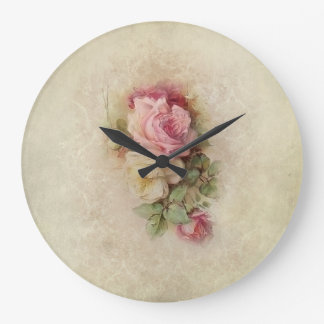 Grande Horloge Ronde Roses peints à la main vintages de style