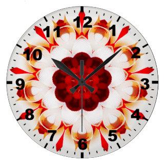 Grande Horloge Ronde ~ rouge de ~ et orange gonflé de fractale