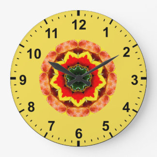 Grande Horloge Ronde ~ rouge de floraison de fractale de fleur de ~