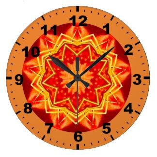 Grande Horloge Ronde ~ rouge lumineux de fractale d'étoile de ~