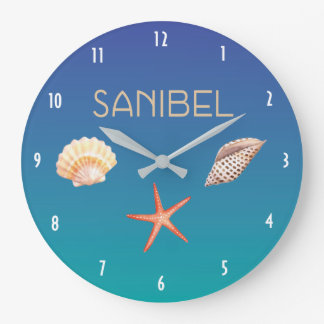 Grande Horloge Ronde Sanibel avec des coquillages