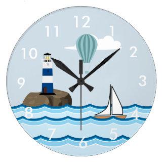 Grande Horloge Ronde Scène nautique avec le phare et le voilier