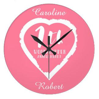 Grande Horloge Ronde Septième coeur peint d'anniversaire de mariage