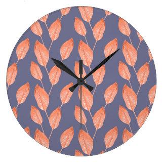 Grande Horloge Ronde Série sans couture 2 de motif de feuille tropical