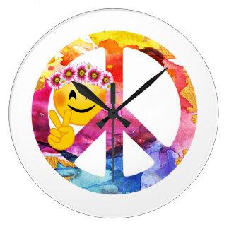 Grande Horloge Ronde Signe de paix, art hippie d'aquarelle d'émoticône
