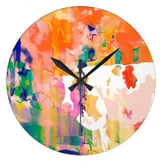 Grande Horloge Ronde Silhouette d'aquarelle de vache à abstraction