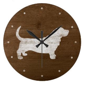 Grande Horloge Ronde Silhouette de Basset Hound