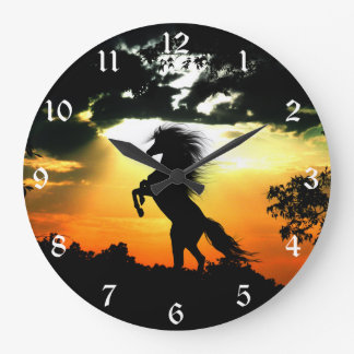 Grande Horloge Ronde Silhouette de cheval de coucher du soleil