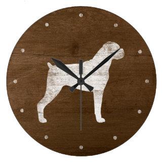 Grande Horloge Ronde Silhouette de chien de boxeur