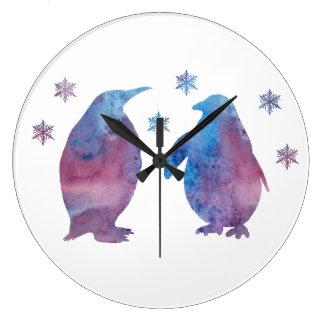 Grande Horloge Ronde Silhouette de pingouin