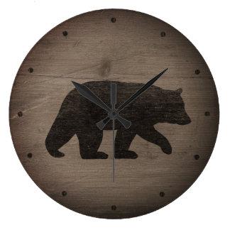 Grande Horloge Ronde Silhouette d'ours noir