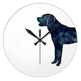 Grande Horloge Ronde Silhouette noire d'aquarelle de labrador retriever