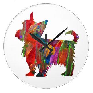 Grande Horloge Ronde Silhouette peinte colorée multi de chien de Yorkie