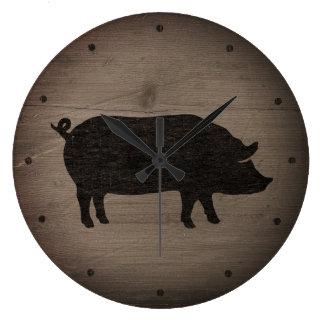 Grande Horloge Ronde Silhouette rustique de porc