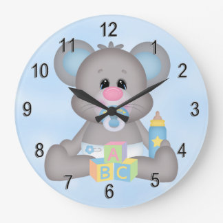 Grande Horloge Ronde Souris mignonne de bébé de l'horloge de l'enfant