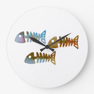 Grande Horloge Ronde Squelette de poissons