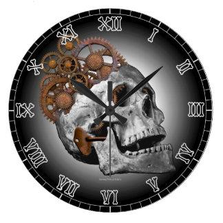 Grande Horloge Ronde Squelette de Steampunk de dents de crâne de