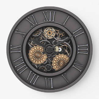 Grande Horloge Ronde Steampunk vintage élégant #5C