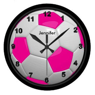Grande Horloge Ronde Style de ballon de football de roses indien