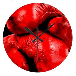 Grande Horloge Ronde Style de grunge de boxeur de gants de boxe