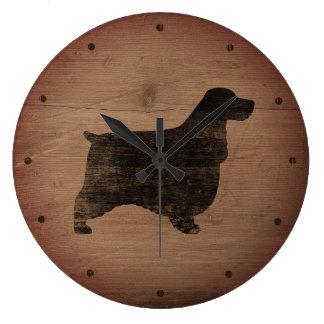 Grande Horloge Ronde Style rustique de silhouette anglaise de cocker