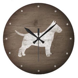 Grande Horloge Ronde Style rustique de silhouette de bull-terrier