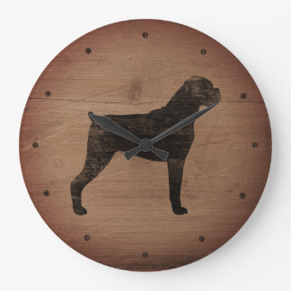 Grande Horloge Ronde Style rustique de silhouette de chien de boxeur