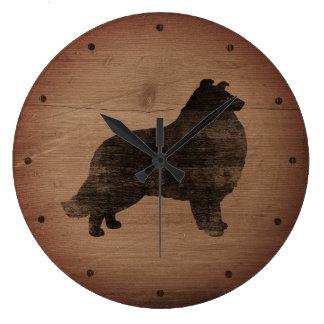 Grande Horloge Ronde Style rustique de silhouette de colley