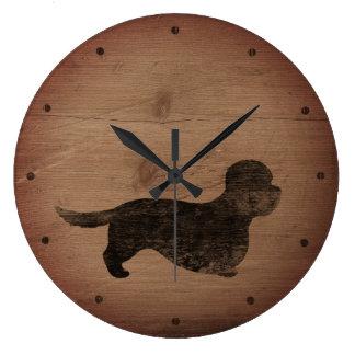 Grande Horloge Ronde Style rustique de silhouette de Dandie Dinmont