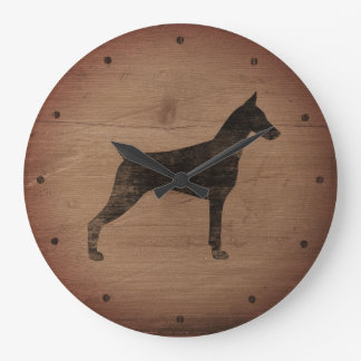 Grande Horloge Ronde Style rustique de silhouette de Pinscher de