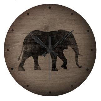 Grande Horloge Ronde Style rustique de silhouette d'éléphant africain