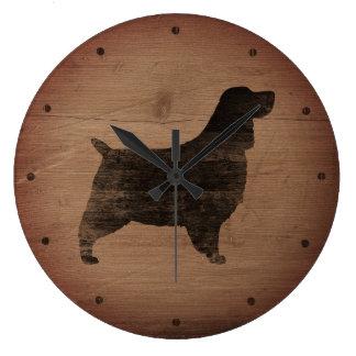 Grande Horloge Ronde Style rustique de silhouette d'épagneul de