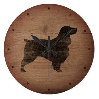 Grande Horloge Ronde Style rustique de silhouette d'épagneul de champ