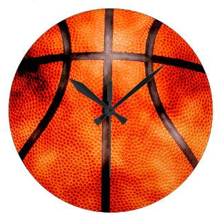 Grande Horloge Ronde Style toute la journée grunge de basket-ball
