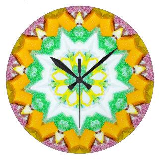 Grande Horloge Ronde Sucrerie douce de Noël avec la fractale de noix de