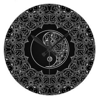 Grande Horloge Ronde Symbole de yang de Yin en ornement noir et blanc