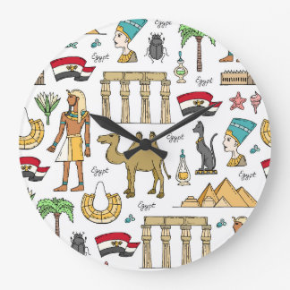 Grande Horloge Ronde Symboles de couleur de motif de l'Egypte
