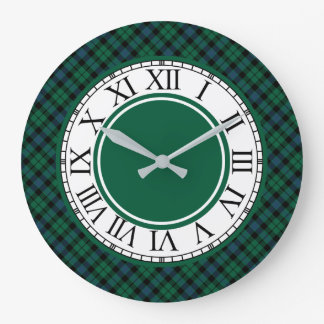 Grande Horloge Ronde Tartan vert clair et bleu de clan de MacKay