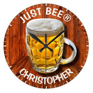 Grande Horloge Ronde Tasse de bière en verre de pinte avec la tête