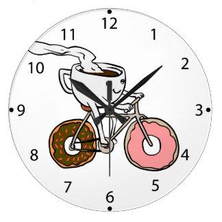 Grande Horloge Ronde Tasse montant une bicyclette avec des roues de