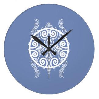 Grande Horloge Ronde Tatouage de tortue de guerrier de Tiki