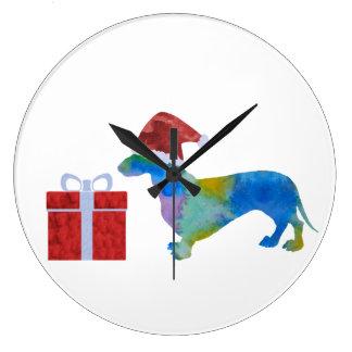 Grande Horloge Ronde Teckel de Noël