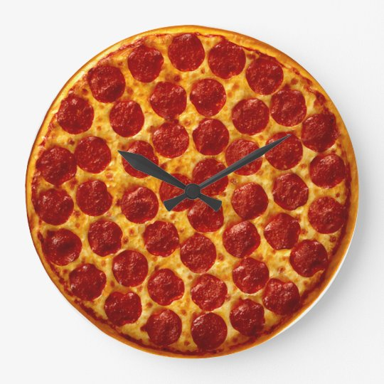 Grande horloge ronde temps de pizza for Fourniture pizzeria