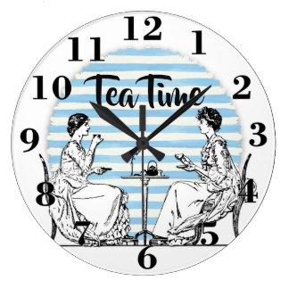 Grande Horloge Ronde Temps vintage de thé