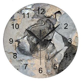 Grande Horloge Ronde Terrier grunge de Pitbull