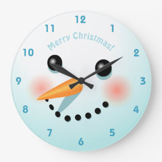 Grande Horloge Ronde Tête mignonne de bonhomme de neige avec les joues