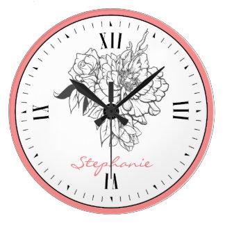 Grande Horloge Ronde Texture blanche florale